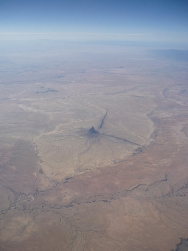 On route to Las Vegas. Shiprock, New Mexico. The window seat is the best.
